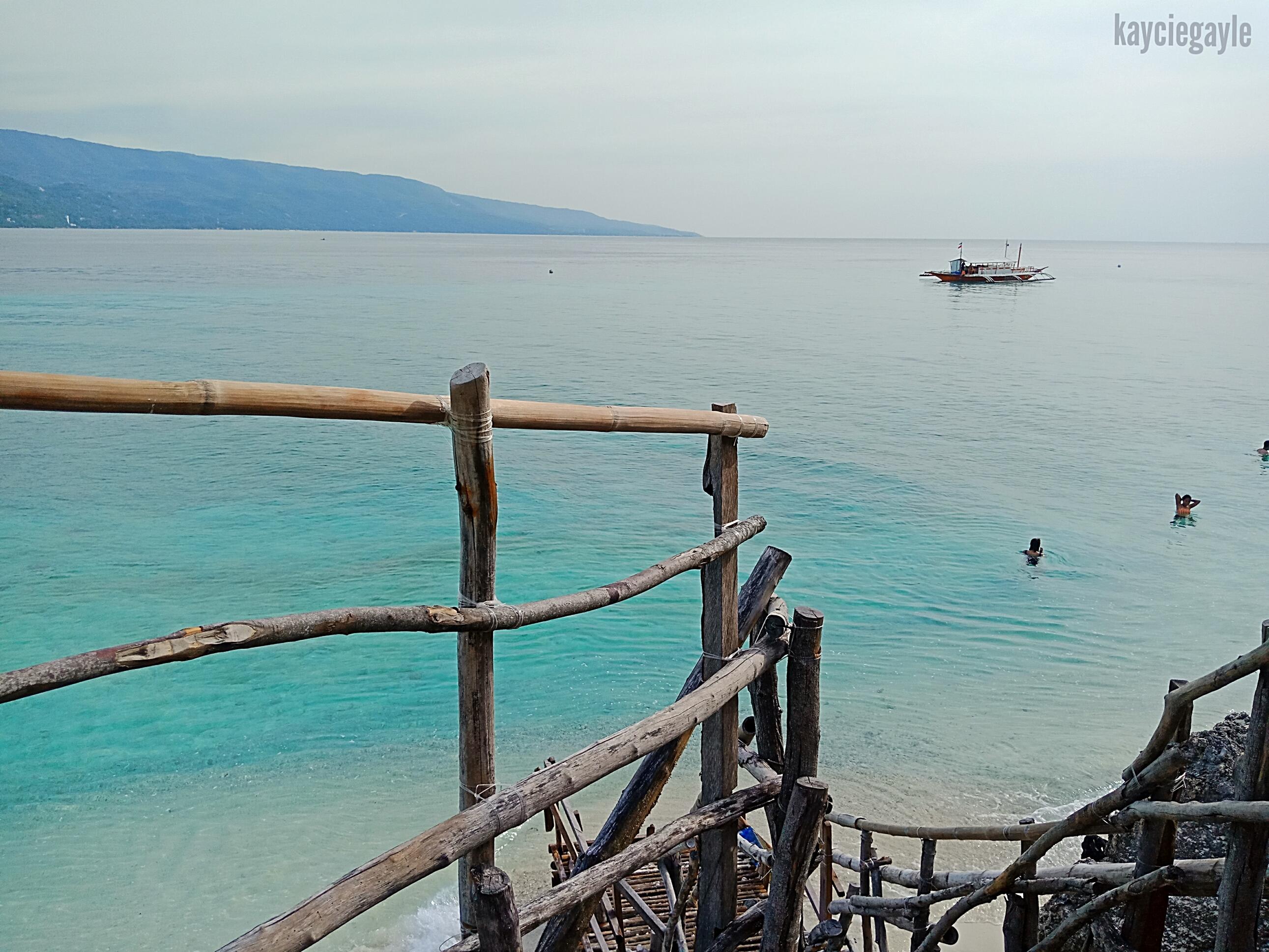Sumilon Island in Oslob Cebu bamboo stairs overlooking the seascape